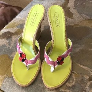 Coach Ladybug Wedge Thong Sandals